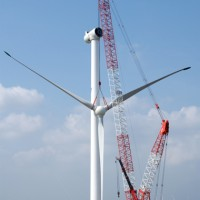 CKE4000C Working on the Assembly of a wind turbine (Weihai, China)